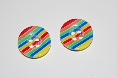 Bouton rayé multicolore - 12 mm