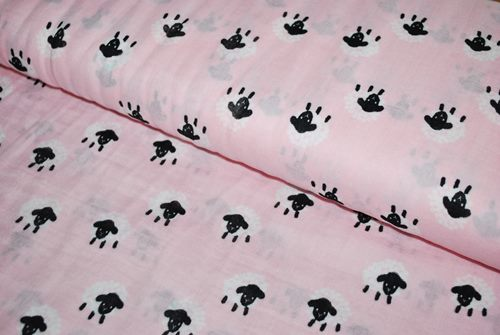 Double gaze coton rose moutons - par 50 cm