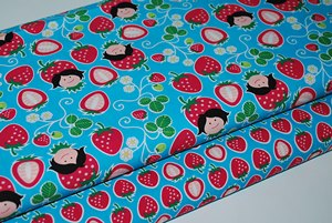Coton oko tex Hilco design Hamburger Liebe Strawberry picking turquoise - par 50 cm