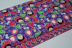 Coton oko tex Hilco design Hamburger Liebe Strawberry picking violet - par 50 cm